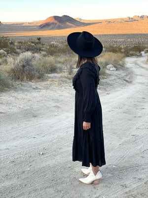 So Smitten Embroidered Ruffled Midi  Dress