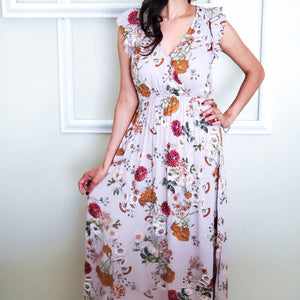 Floral Ruffle Sleeves Maxi Dress