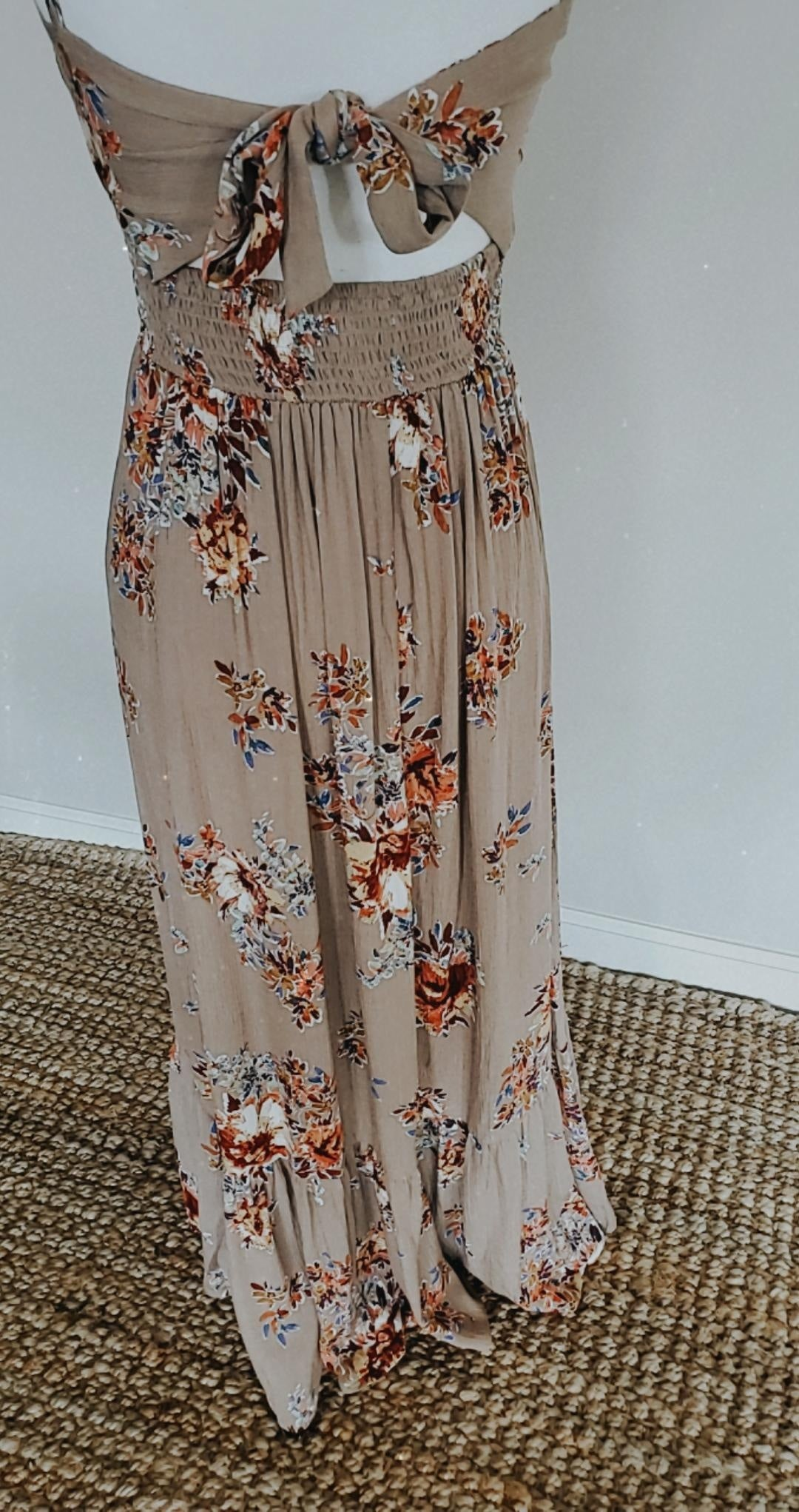 Smocked Tiered Spaghetti Strap  Floral Maxi Dress