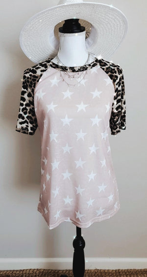 Stay Wild Star Print Short Sleeve Top S-2XL