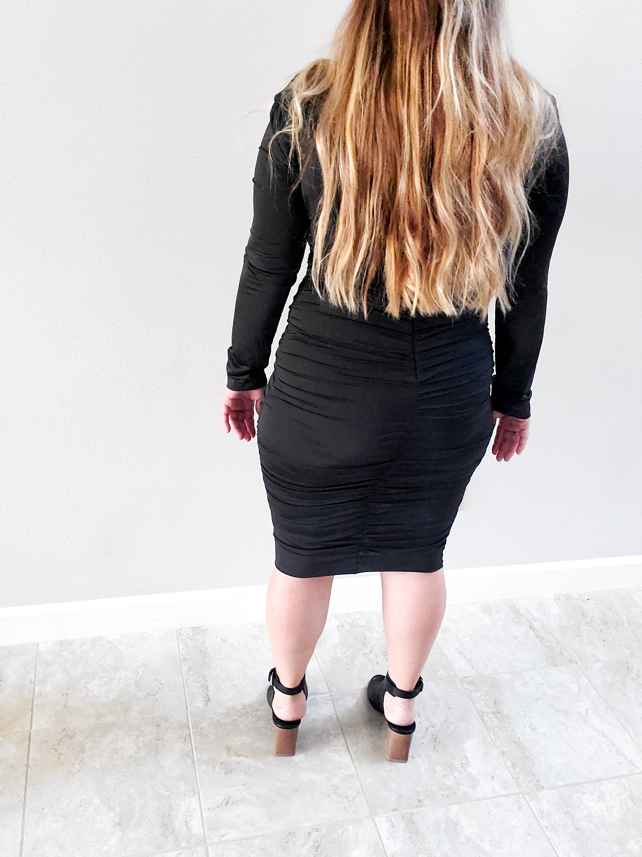 Ruched Black Midi Dress