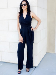 Solid Sleeveless Essential Jumpsuit in Black
