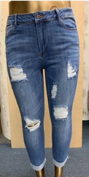 Curvy Distressed Cuffed Jeans