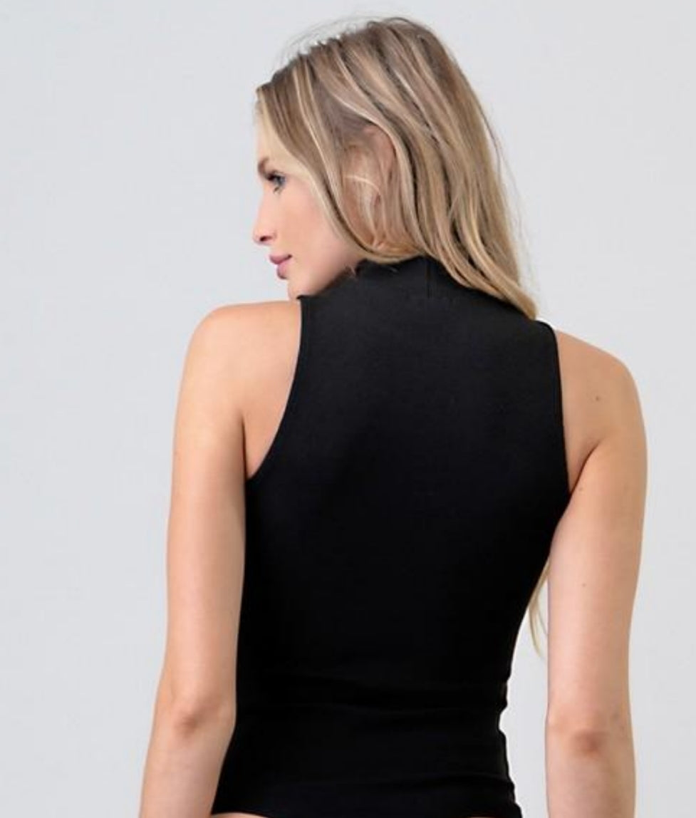 Gladys Mock Neck  Bodysuit in Black