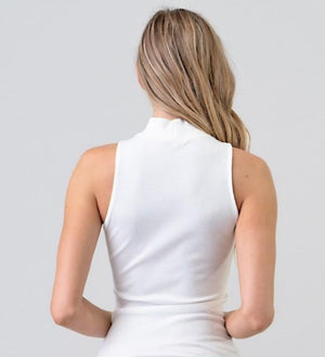 Gladys Mock Neck  Bodysuit in White