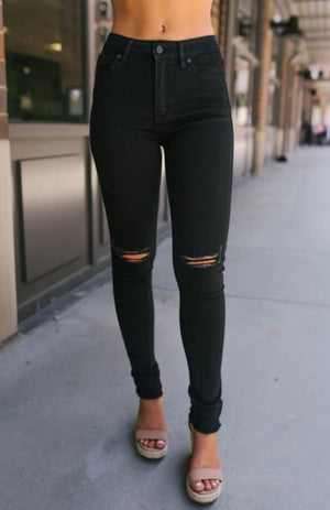 High-Waisted Black Distressed Knee Jeans