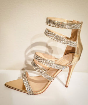 Bedazzled Pointed Toe Gold Heel