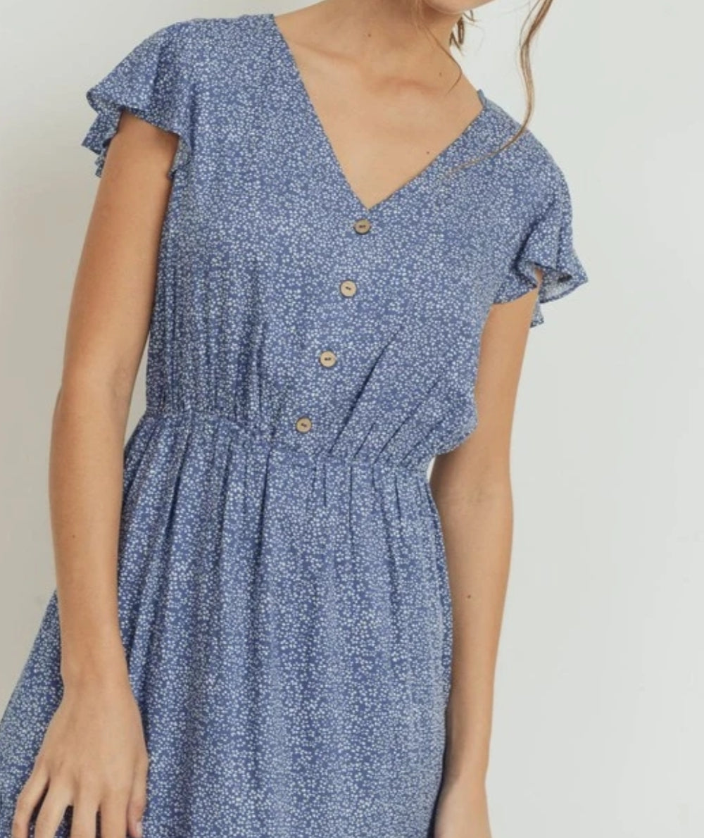 Floral Print Button Down Flutter Sleeve Dress