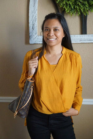 Mustard Surplice Woven Blouse (Final Sale)