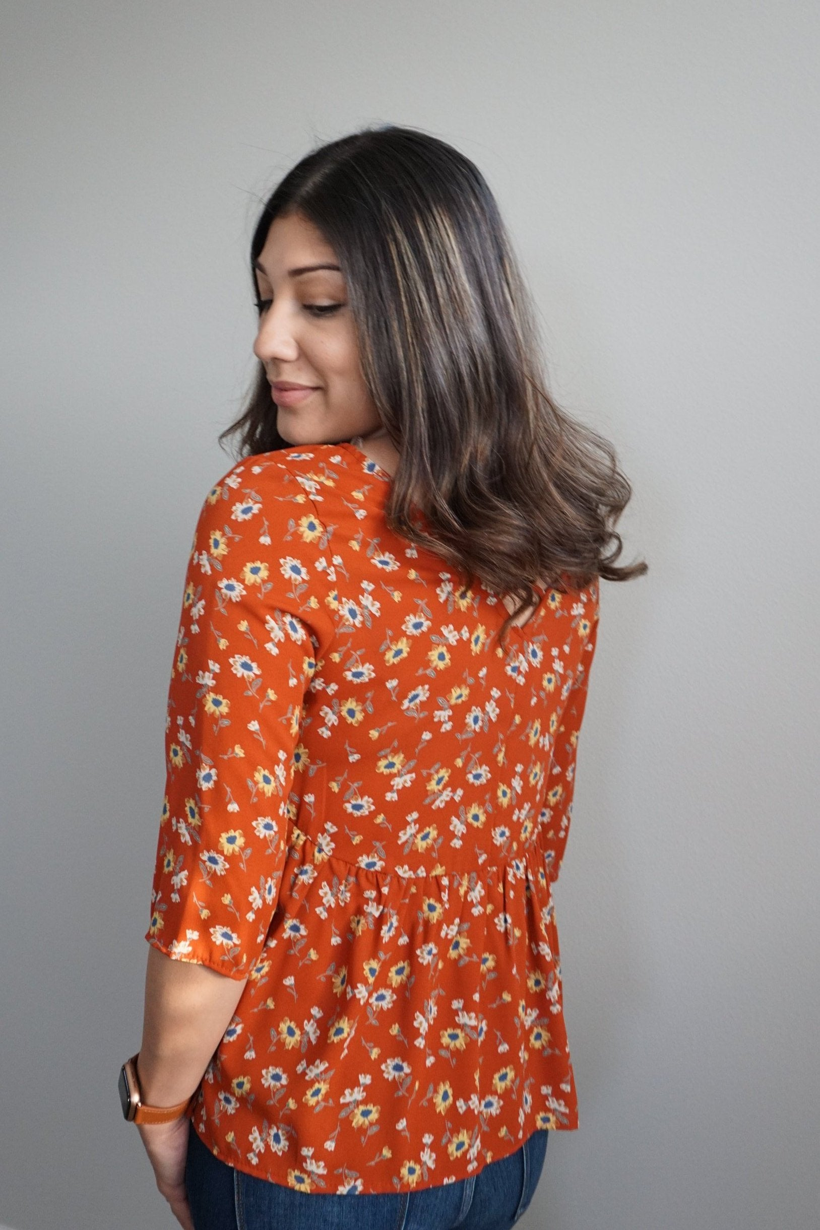 Rust Floral Babydoll Top (Final Sale)