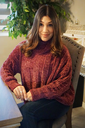 So Soft and Cozy Chenille Sweater in Plum