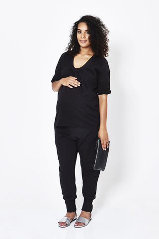 Koka Mama Maternity Scoop Neck Blouse in Black