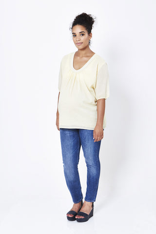 Koka Mama Maternity Scoop Neck Blouse in Lemon Cream