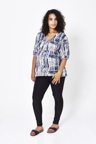 Koka Mama Maternity Scoop Neck Blouse in Check Print