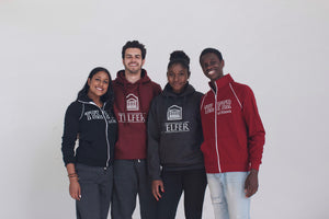 Group Photo displaying our Maroon Print hoodie, Charcoal Grey Print Hoodie, and Full Zip up Sweater in red and black.