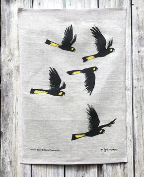 Yellow-tailed Black Cockatoos - Tea Towel
