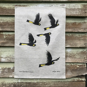 Yellow- tailed Black Cockatoos - Tea Towel