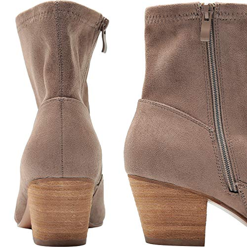 Women's Wide Width Ankle Boots, Chunky Mid Heel Slip On Side Zipper Cozy Comfortable Work Booties.