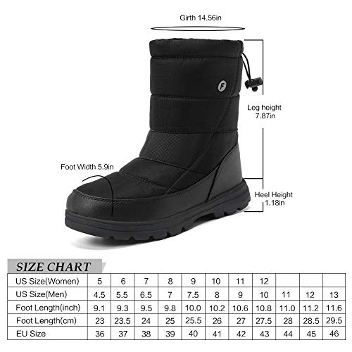 EQUICK Women and Men Waterproof Snow Boot Drawstring Cold Weather Boot