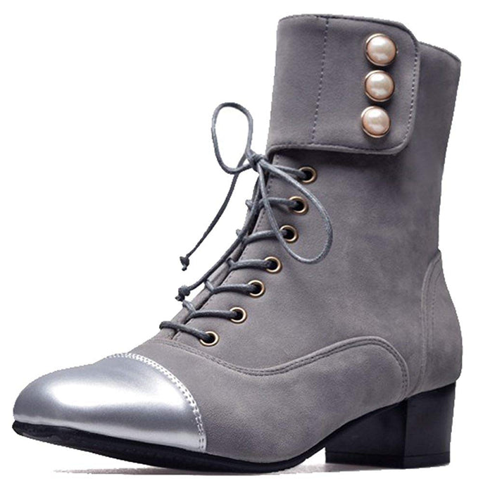 Easemax Women's Trendy Frosted Burnished Stitching Lace Up Buckle Beaded Square Toe Mid Chunky Heel Boots