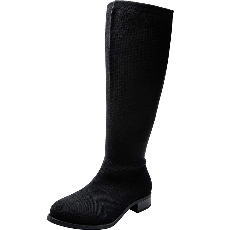 Aukusor Women's Wide Width Knee High Boots - Chunky Low Heel Buckle Detial Elastic Zipper Winter Boots.(Extra Wide Calf)