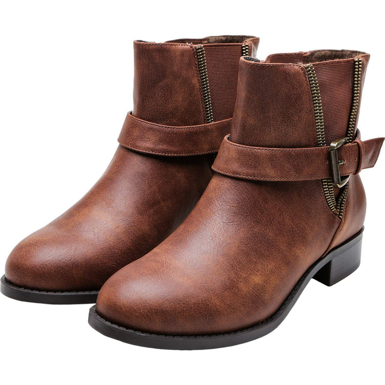 Women's Wide Width Ankle Boots, Chunky Block Low Heel Slip On Buckle Double V-Cut Elastic Cozy Comfortable Work Short Booties.