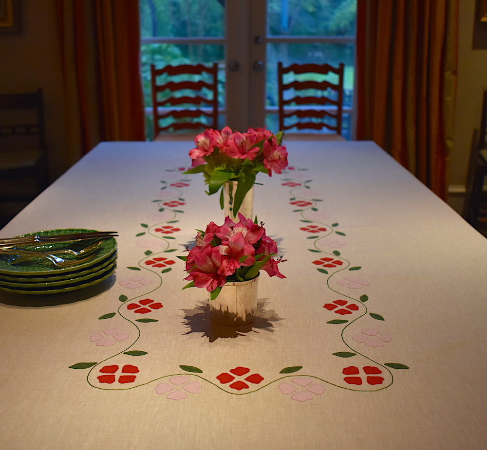 Matisse Floral Tablecloth, Oatmeal with Red & Pink, Large