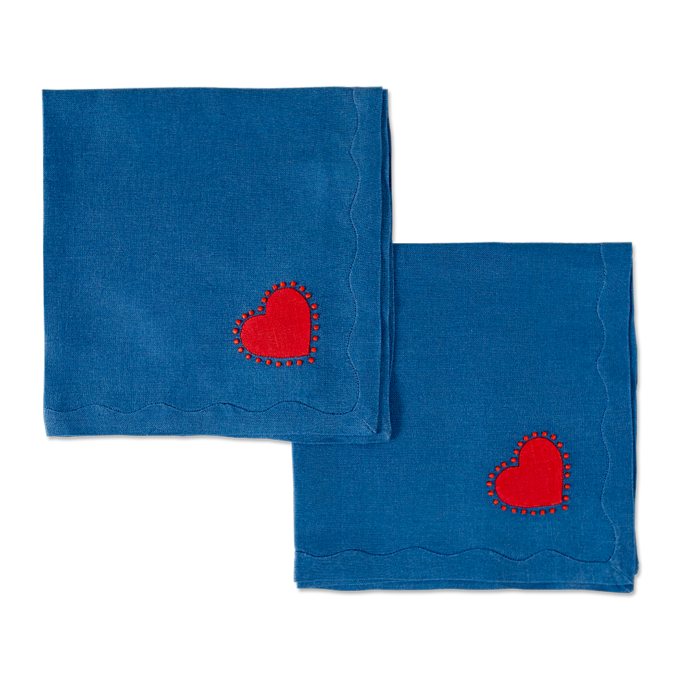 Big Love Dinner Napkins, Royal Blue, Set of 2