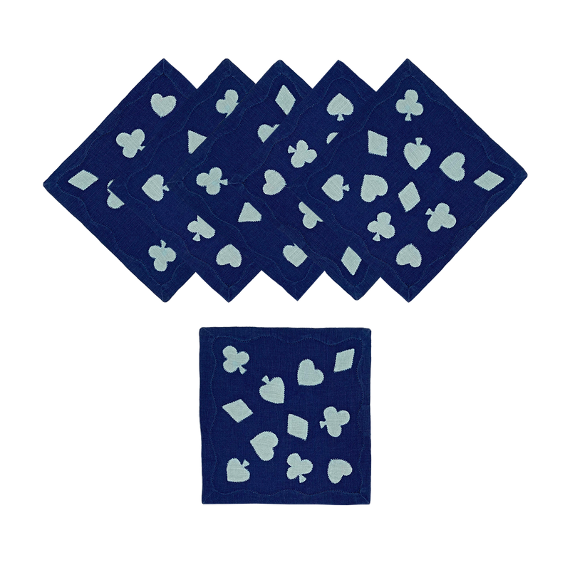 Cardshark Cocktail Napkins, Navy & Aqua, Set of 6