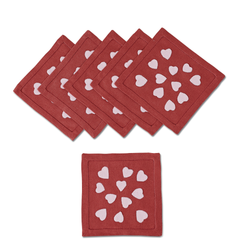 Hearts Cocktail Napkins in Crimson, Set of 6