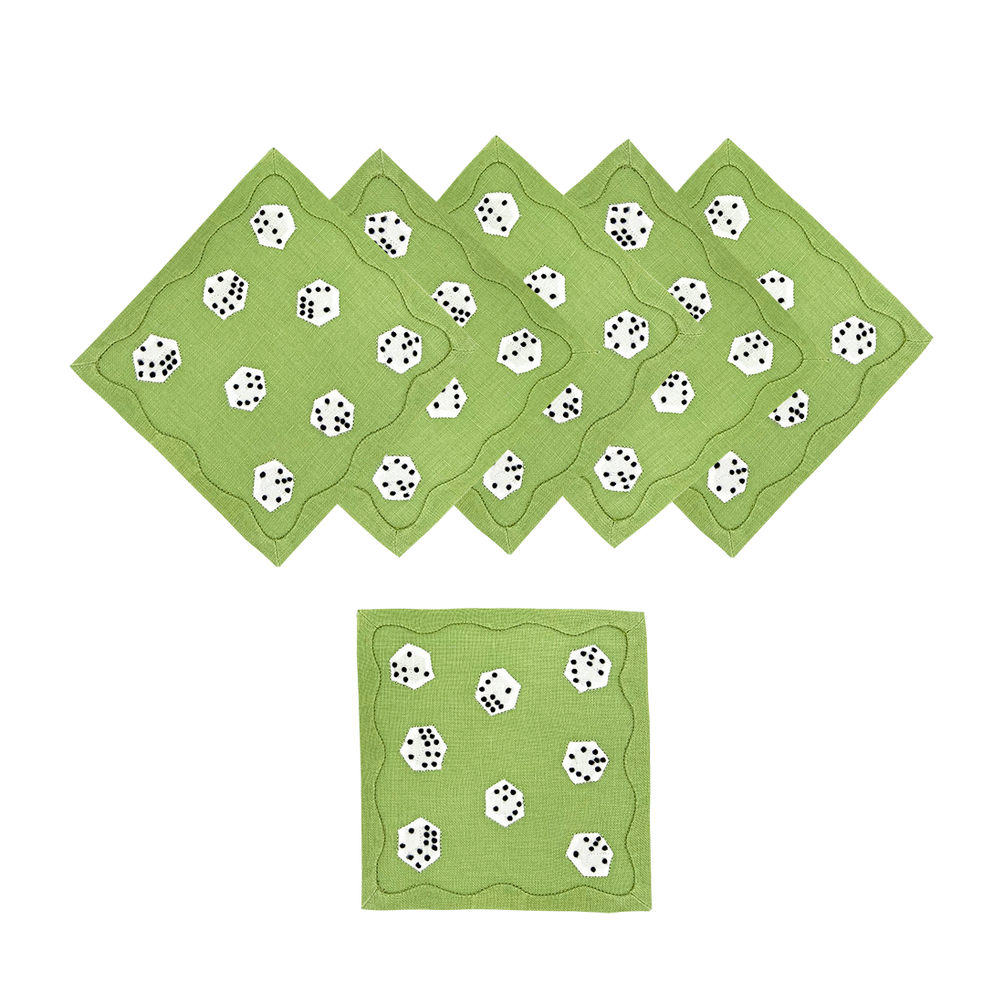 Dice Cocktail Napkins Lime, Set of 6