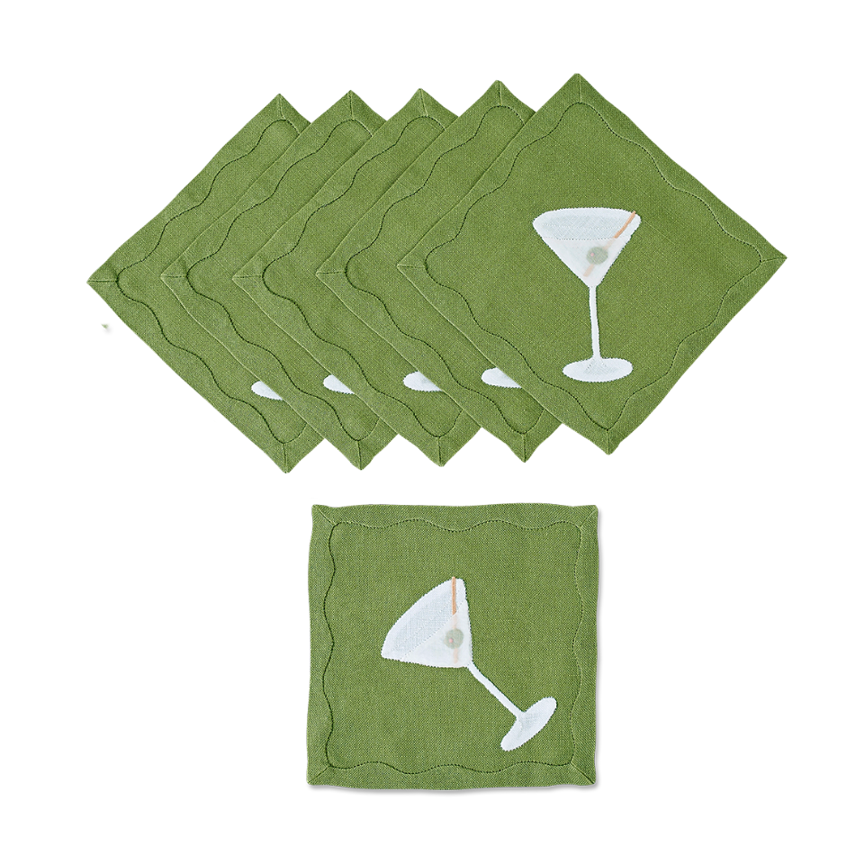Dirty Martini Cocktail Napkins, Set of 6