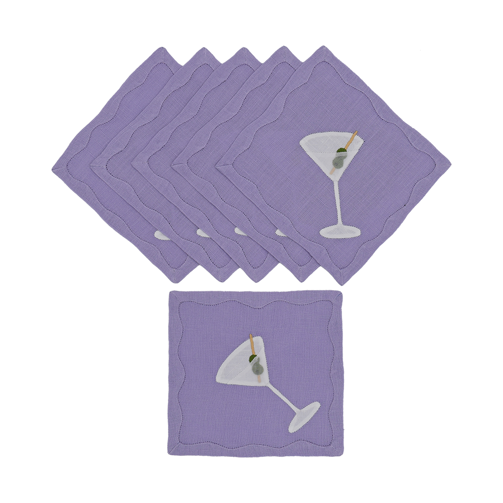 Dirty Martini Cocktail Napkins, Lavender, Set of 6 - last set