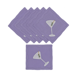 Dirty Martini Cocktail Napkins, Lavender, Set of 6