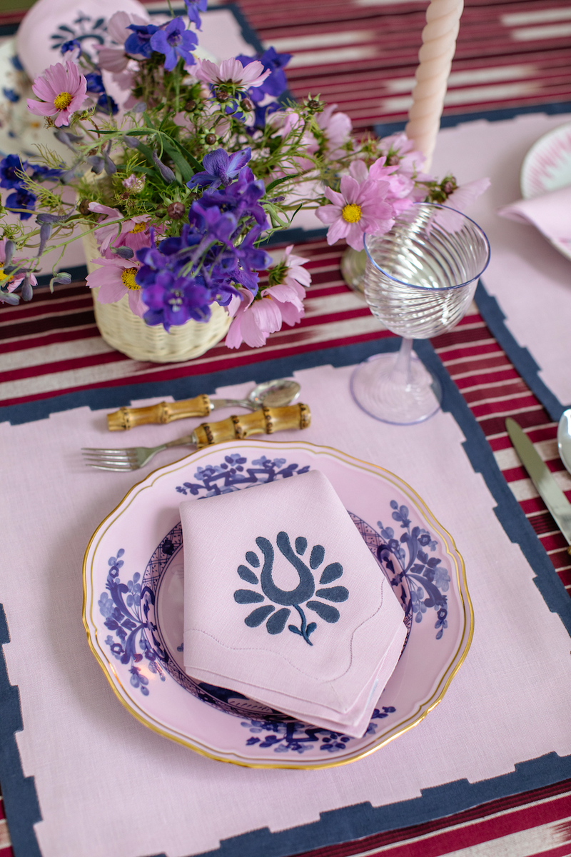 Hanover Placemats, Lilac and Navy, Set of 2