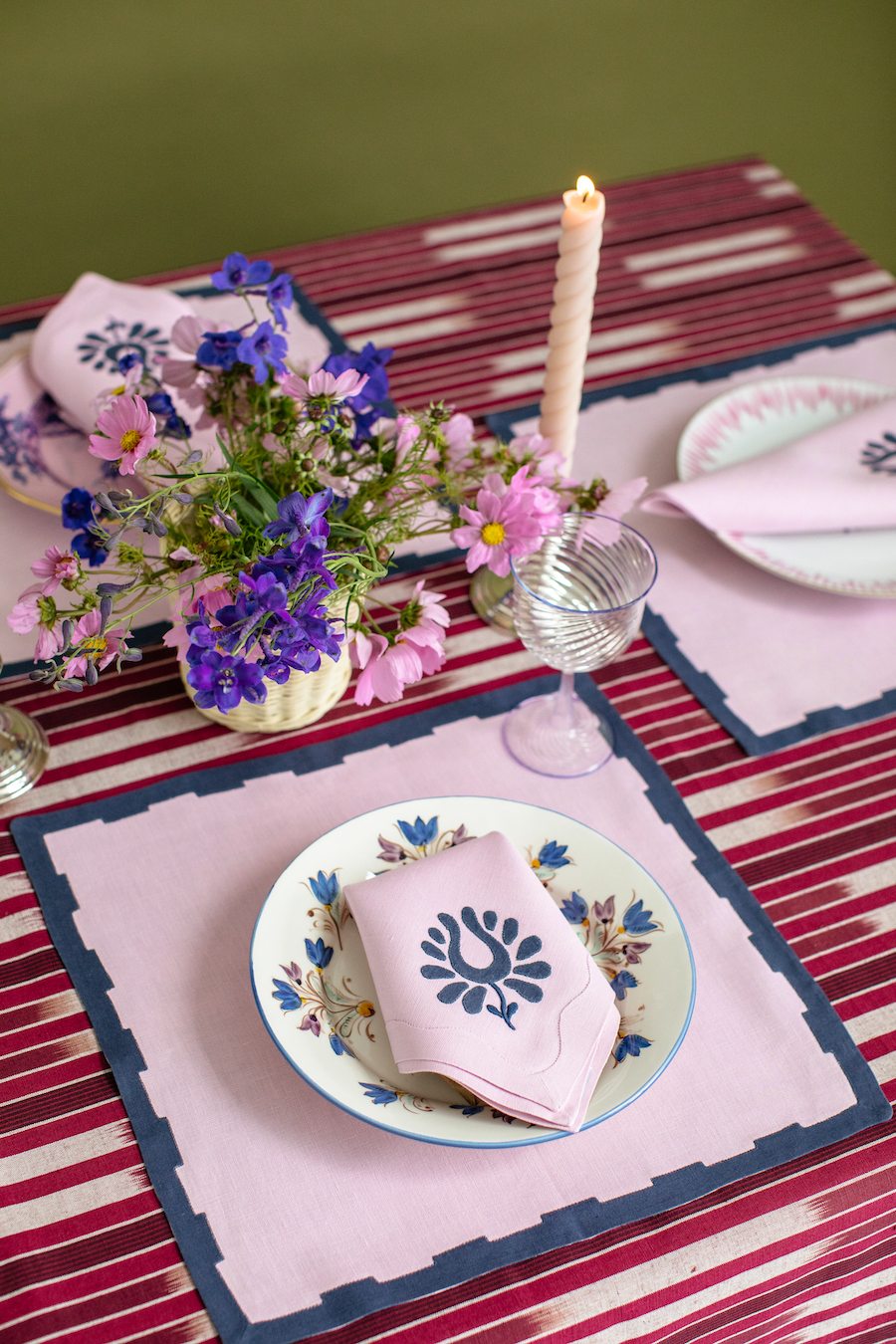 Indian Tulip Dinner Napkins, Lilac and Navy, Set of 2