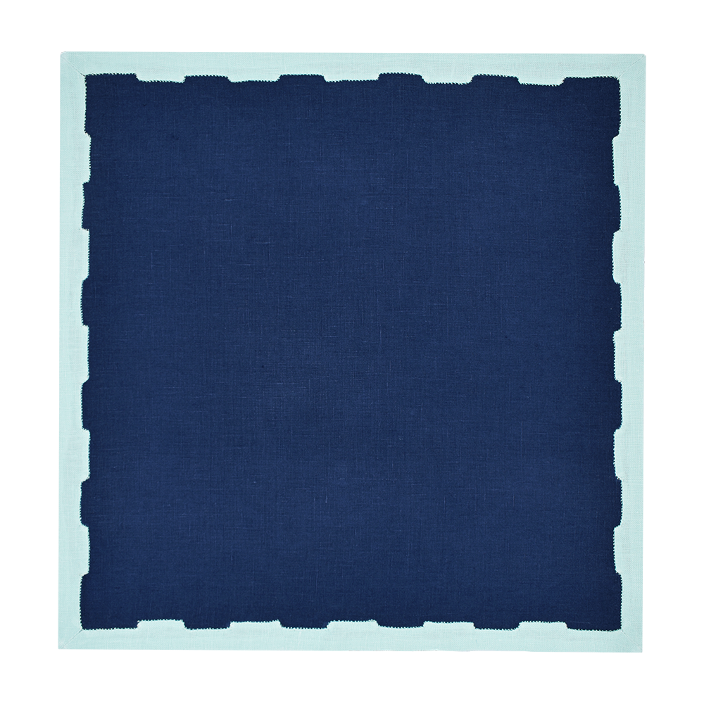 Hanover Placemats, Navy and Aqua, Set of 2