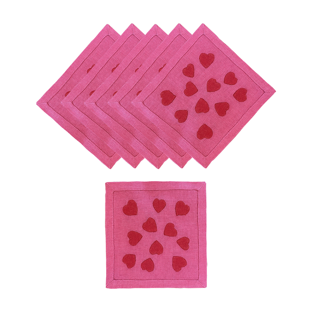 Hearts Cocktail Napkins, Pink and Red, Set of 6