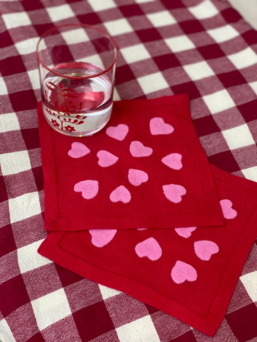 Hearts Cocktail Napkins, Red and Pink, Set of 6