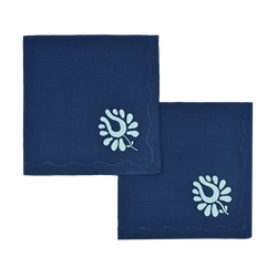 Indian Tulip Dinner Napkins, Navy and Aqua, Set of 2