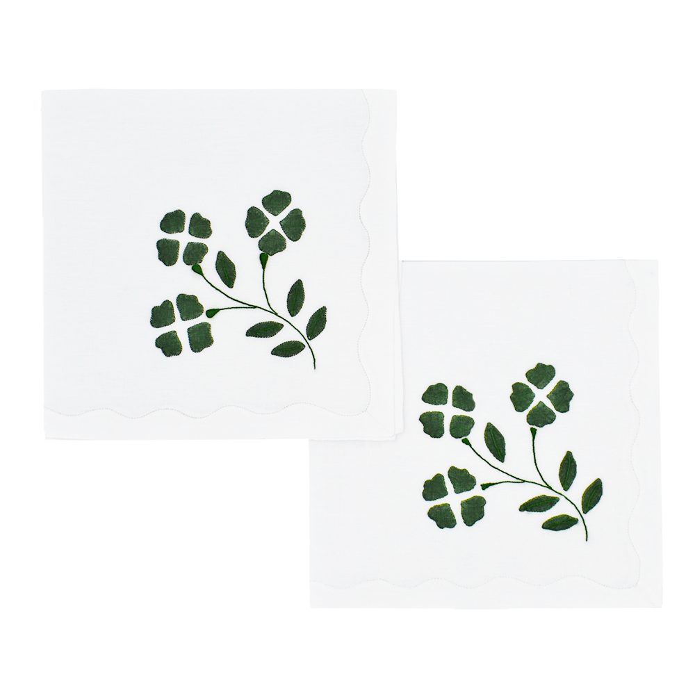 Matisse Dinner Napkins, White with Green, Set of 2
