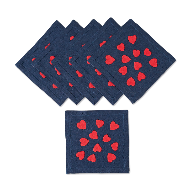 Hearts Cocktail Napkins in Navy, Set of 6