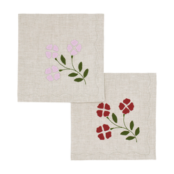 Matisse Dinner Napkins, Oatmeal with Red & Pink, Set of 2