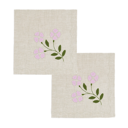 Matisse Dinner Napkins, Oatmeal and Lilac, Set of 2