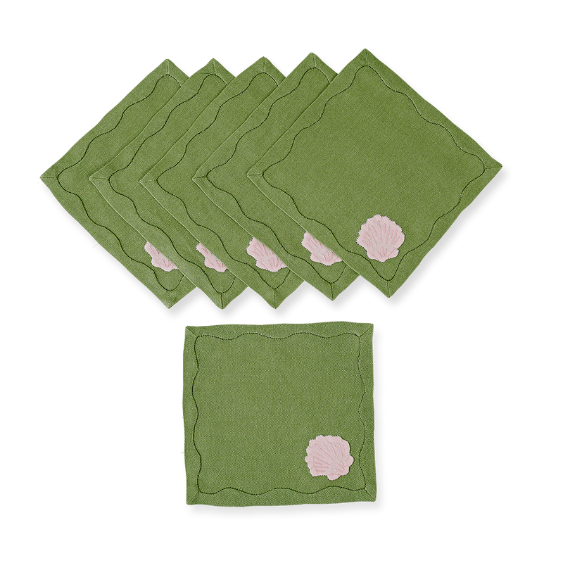 Beverly Shell Cocktail Napkins, Set of 6