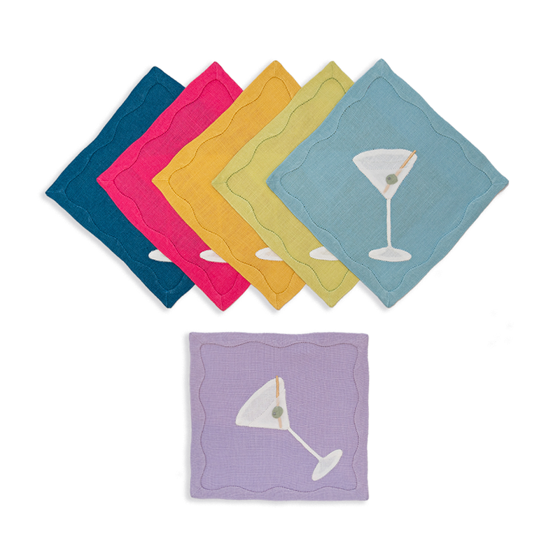 Rainbow Martini Cocktail Napkins, Set of 6