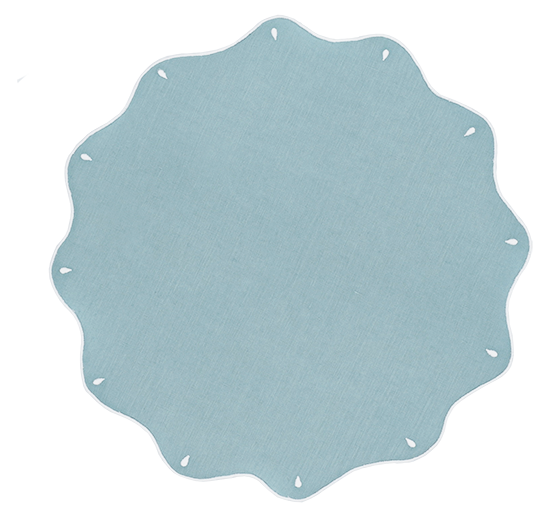 Sicily Scallop Placemats Aqua, Set of 2