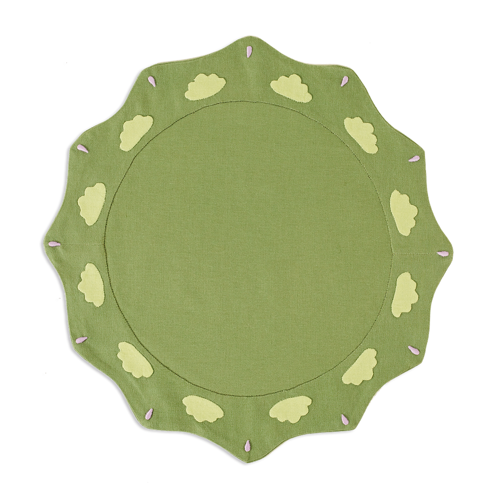 Sicily Scallop Placemats Olive, Set of 2
