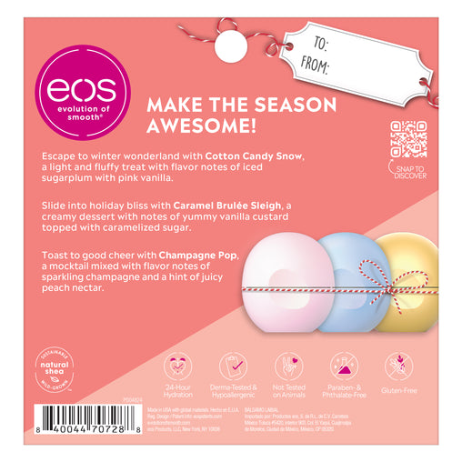 cotton candy snow, caramel brulée sleigh and champagne pop 3-pack lip balm - eos - alt image 2