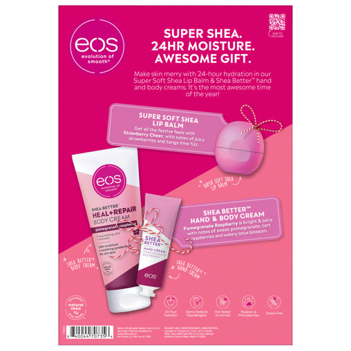 strawberry cheer and pomegranate raspberry lip and lotion gift set - eos - alt image 2